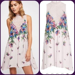 Free People Marsha Lace Floral Boho Slip Dress